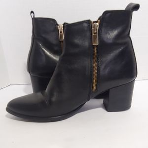 Anthropologie primamoda black leather ankle boots